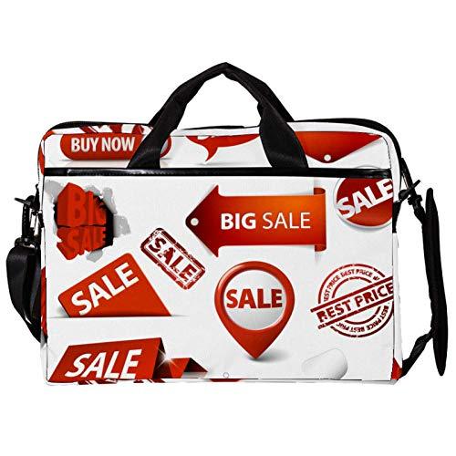 Unisex Computer Tablet Satchel Bag,Lightweight Laptop Bag,Canvas Travel Bag,13.4-14.5Inch with Buckles Tickets Label Postage Stamp Tag