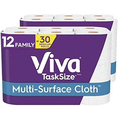 Viva Multi-Surface Cloth Paper Towels, Task Size - 12 Family Rolls (2 Packs of 6 Rolls) = 30 Regular Rolls (143 Sheets Per Roll)