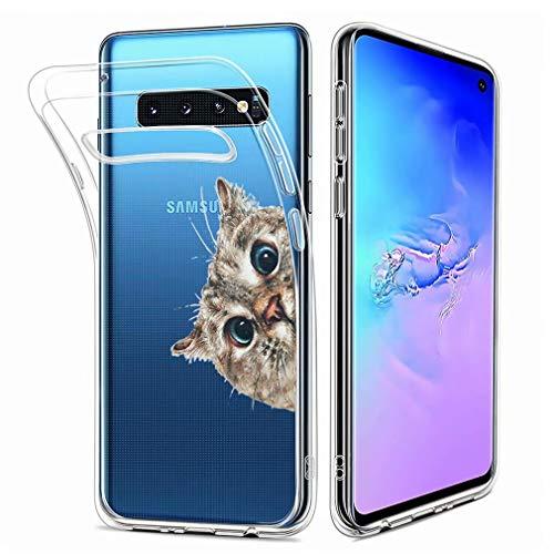 Fanxwu Kompatibel mit Samsung Galaxy S10 Hülle TPU Silikon Klar Case Ultra Schlank Transparente Weich Handyhülle Anti-Kratzer Stoßfest Schutzhülle - Hälfte Katzenkopf