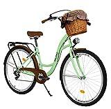 Milord Bikes Bicicleta de Confort, Menta, de 7 Velocidad y 26 Pulgadas con Cesta y Soporte Trasero, Bicicleta Holandesa, Bicicleta para Mujer, Bicicleta Urbana, Retro, Vintage