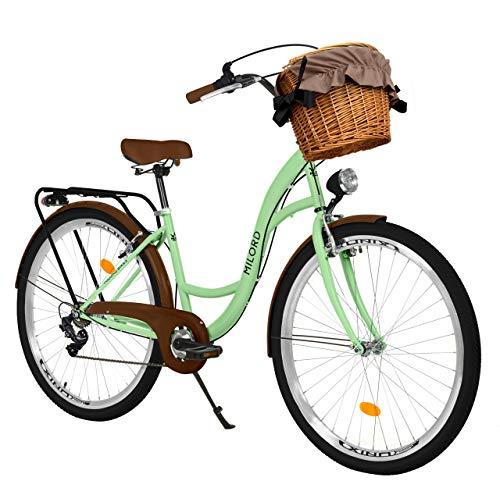 Milord. Bicicletta Comfort Menta Verde a 7 velocità da 28 Pollici con cestello e Marsupio Posteriore, Bici Olandese, Bici da Donna, City Bike, retrò, Vintage