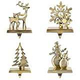 willstar Christmas Stocking Holders for Fireplace Mantle Anti-Slip Reindeer Pine Tree Snowman Snowflake Stand Hanger Sturdy Metal Christmas Decorations (1 set-4pcs)