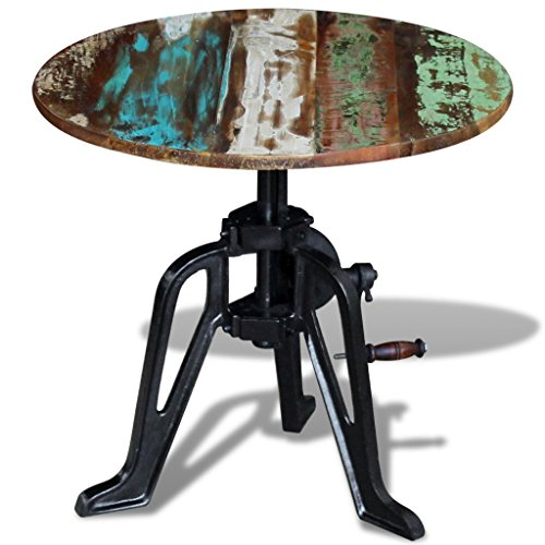 Festnight Reclaimed Wood Round Coffee Side Table Solid, 23.6' x (16.5'-24.8'),...