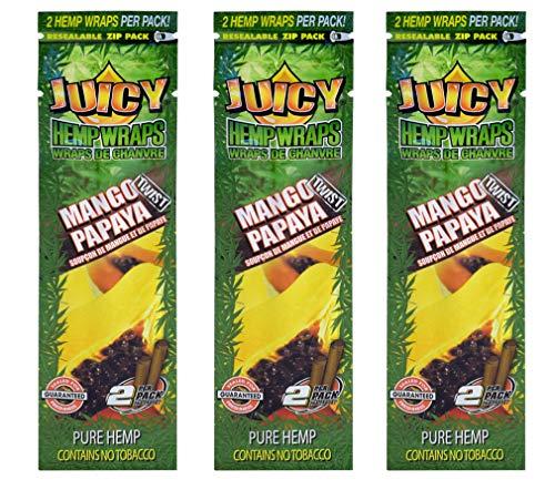 Juicy Jays Hemp Wraps – Mango Papaya Twist Flavor – (3 Packs, 2 Wraps Per Pack) – 6 Total Wraps