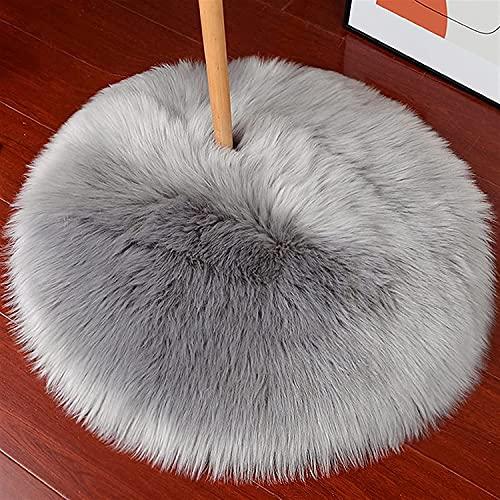 HEQUN Peau de mouton synthétique,Cozy Sensation comme véritable laine Tapis en fourrure synthétique, Man-made luxe Laine Tapis de Canapé Coussin (Rond gris, 60x60 CM)