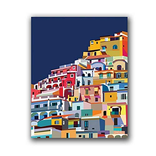 ASLKUYT Positano Italy Print Amalfi Coast Colorful Wall Art Canvas Painting Architecture Art Amalfi Coast Poster Decor Traveler Gift-50x70cm No Frame