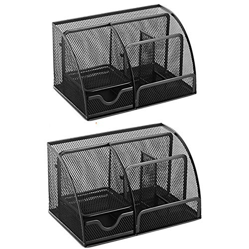Halter 2 Piece Mini Metal Mesh Desk Drawer Organizer Supply Home Supplies Desktop Organizers and Storage Small Drawers Cute Pen Holder Art Accessories Tray Office Stationary Organization Black