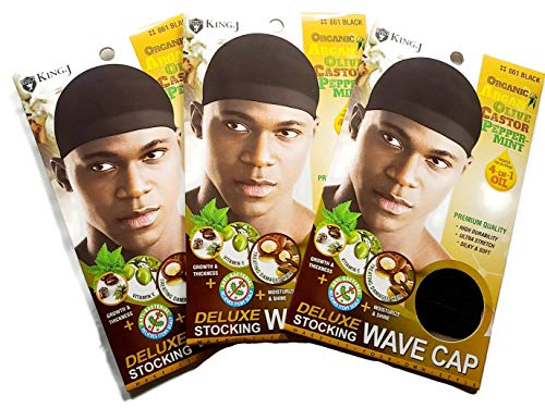 Healthy Treated Wave Deluxe Stocking Wave Cap Black (3 Pack)