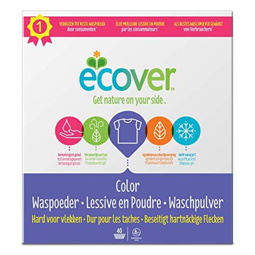 Ecover Color Waschpulver Konzentrat Lavendel (3 kg / 40 Waschladungen), Colorwaschmittel mit pflanzenbasierten Inhaltsstoffen, Waschmittel Pulver für natürlich reine Buntwäsche
