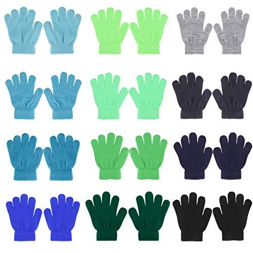 QKURT 12 Paare Handschuhe für Kinder,Volle Finger Strickhandschuhe Kinder Winterhandschuhe zum Pendeln Beim Skifahren