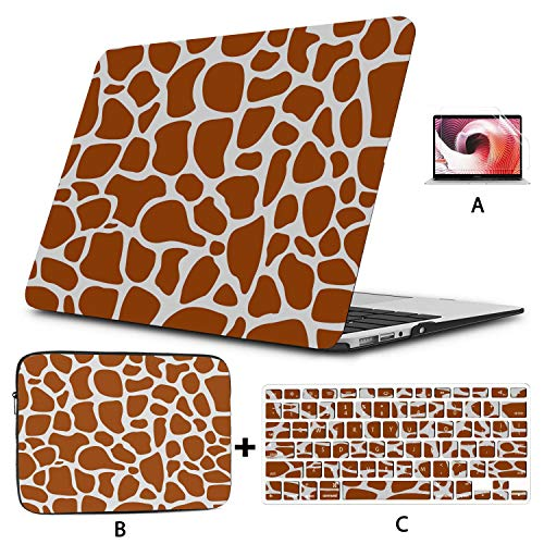 Laptop Hard Cases Seamless Giraffe Skin Texture Cover for MacBook Air Hard Shell Mac Air 11'/13' Pro 13'/15'/16' with Notebook Sleeve Bag for MacBook 2008-2020 Version