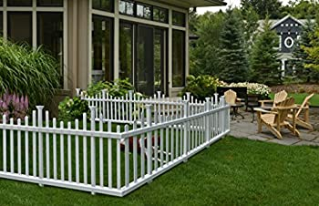 Zippity Outdoor Products ZP19001 No Dig Madison Vinyl Picket Fence White 30  x 56   1 Box 2 Panels  1 x Pack of 2