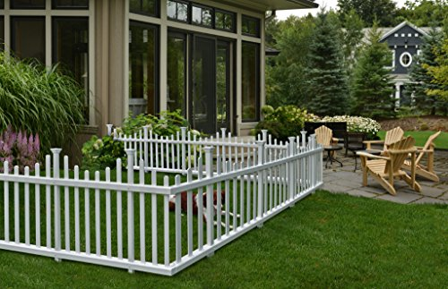 Zippity Outdoor Products ZP19001 Madison Vinyl Picket Fence, White, 30' x 56' (1 Box, 2 Panels)