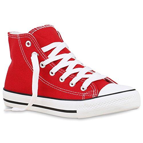 stiefelparadies Damen Schuhe High Top Sneakers Sportschuhe Stoffschuhe Freizeit Schnürer 129809 Rot Carlet 37 Flandell