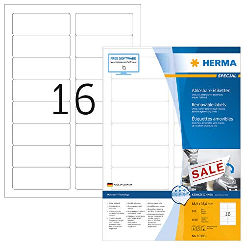 HERMA 10303 Universal Etiketten DIN A4 ablösbar, groß (88,9 x 33,8 mm, 100 Blatt, Papier, matt) selbstklebend, bedruckbar, abziehbare und wieder haftende Adressaufkleber, 1.600 Klebeetiketten, weiß