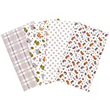 Wild Bunch 4 Pack Flannel Baby Burp Cloth Set - Forest Animal Theme 100% Cotton
