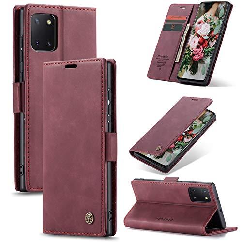 XINYUNEW Funda Compatible para Samsung Galaxy Note 20 Ultra Carcasa con Flip Case Cover Cuero Magnético Plegable Carter Soporte Prueba de Golpes Caso-VinoTinto