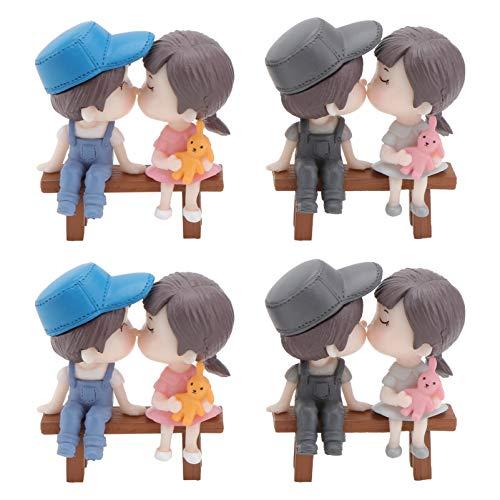 YARNOW 4 Sets Pareja Figurilla Cake Topper Resina Miniatura Besos Amante Estatua en Banco Romántico Micro Paisaje Ornamento Regalo de San Valentín para Decoración de Escritorio del Coche