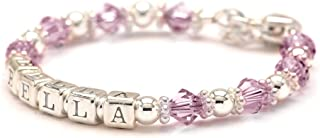 Personalized Baby Charm Bracelet - Sterling Silver Beads - Any Birth Month Crystal