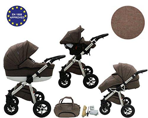 QUERO Lin Matériau - Landau pour bébé + Siège Auto - Poussette - Système 3en1 + Accessoires (Système 3en1, Lin Matériau N ° 10)