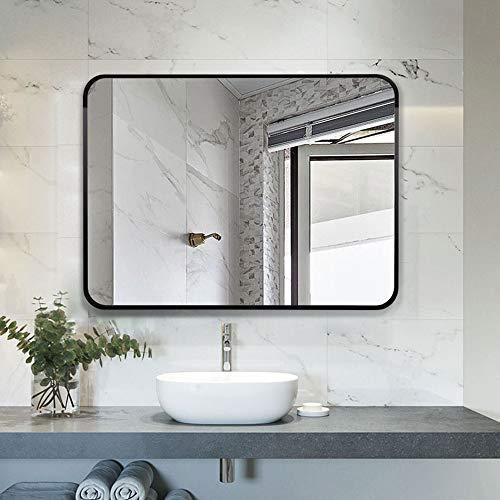 Espejo de baño Espejo Decorativo de Porche Cuadrado, Borde Negro - Espejo de Pared/Dormitorio Espejo de vanidad/Espejo de vanidad