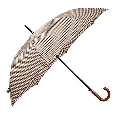BOLERO OMBRELLI – langer klassischer winddichter Regenschirm von hoher Qualität – automatische Öffnung für eine einfache Bedienung mit einer Hand – Premium-Stoff – Knopf aus gebogenem Holz