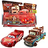 Disney Selección Modelos Doble Pack Cars | Cast 1:55 Vehículos | Mattel, Cars Doppelpacks:Mater & Lightning with no Tires
