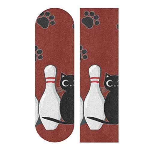 LDIYEU Dunkelrote Bowling Schwarze Katze Skateboard Griptape rutschfest Selbstklebend Longboard Griptapes Aufkleber Griffband 33
