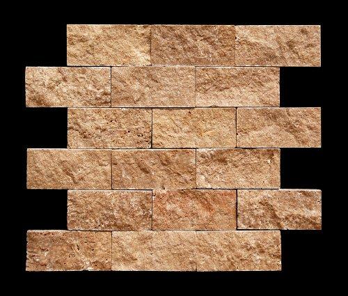 Noce 2 X 4 Travertine Split-Faced Mosaic Tile