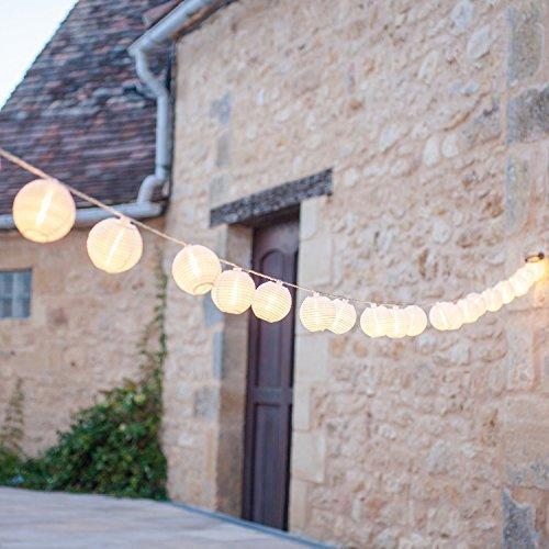 Lights4fun Catena di 20 luci LED con Lanterne in Tessuto Impermeabile Bianco per Uso Interno ed Esterno