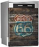 MEGADECOR Vinilo Decorativo para Lavavajillas, Medidas Estandar 67 cm x 76 cm, Viejo Cartel de Ruta 66 Desgastado y Pintado sobre Tablas de Madera Envejecida