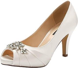 9d5187540 ERIJUNOR Peep Toe Mid Heels for Woman Rhinestones Satin Evening Prom  Wedding Shoes