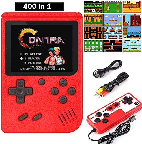 GAMRY Handheld Spielkonsole, 400 Klassische Spielen 3-Zoll-LCD-Bildschirm tragbare Retro-Videospielkonsole TV-Spielekonsolen Zwei Spieler für Kinder und Erwachsene