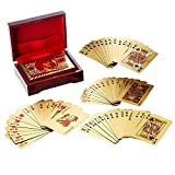 Generic, Deck of Poker Playing Cards in 999.9 Gold Foil Plating with Certificate and Mahogany Box, Bridge Size Cards, Playing Cards, Gold, 54 cards