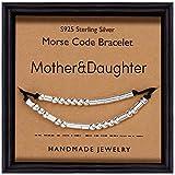 Suyi Mother & Daughter Pulsera Código Morse Regalos para Madre Hija Cuentas De Plata Esterlina con Cordón De Seda Regalo Hecho A Mano para Mujeres Niñas