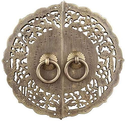 HAOJON Llamador de puerta de cobre vintage, de un solo agujero, redondo, decorativo antiguo, ideal para gabinete cajón de puerta de madera, color negro - Diámetro: 14,5 cm