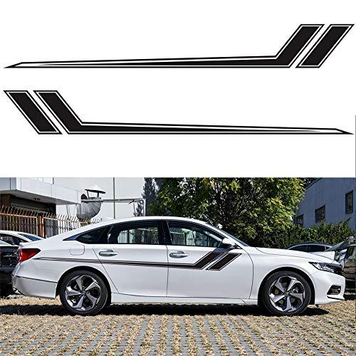 PoeHXtyy Pegatinas y calcomanías gráficas de rayas de carreras de coches deportivos para puerta lateral de carrocería de automóvil