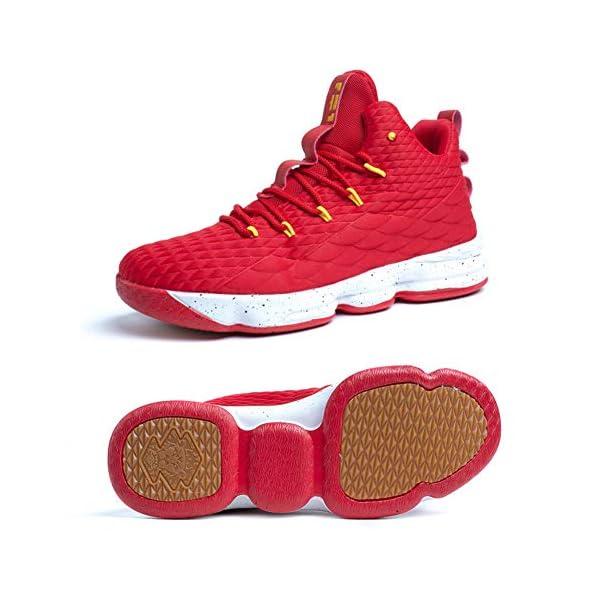 51SIpqKzIML. SS600  - Zapatos Hombre Deporte de Baloncesto Sneakers de Malla para Correr Zapatillas Antideslizantes Negro Rojo Champán Verde…