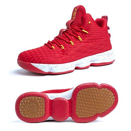 51SIpqKzIML - Zapatos Hombre Deporte de Baloncesto Sneakers de Malla para Correr Zapatillas Antideslizantes Negro Rojo Champán Verde…
