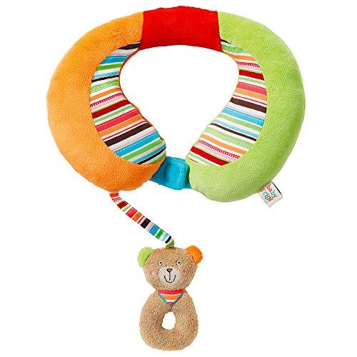 Fehn 091151 Nackenstütze Teddy – Nackenkissen mit kleinem Rassel-Teddy für Babys und Kleinkinder ab 6+ Monaten – Stützt und entlastet in Kinderwagen, Babyschale oder Auto