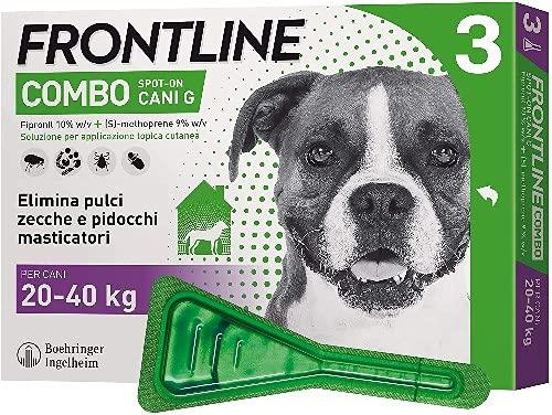 Frontline Combo, 3 Pipette, Cane Taglia L (20 - 40 Kg), Antiparassitario per Cani e Cuccioli di Lunga Durata, Protegge il Cane e Anche la Casa da Pulci, Zecche, Uova e Larve, Antipulci 3 Pipette