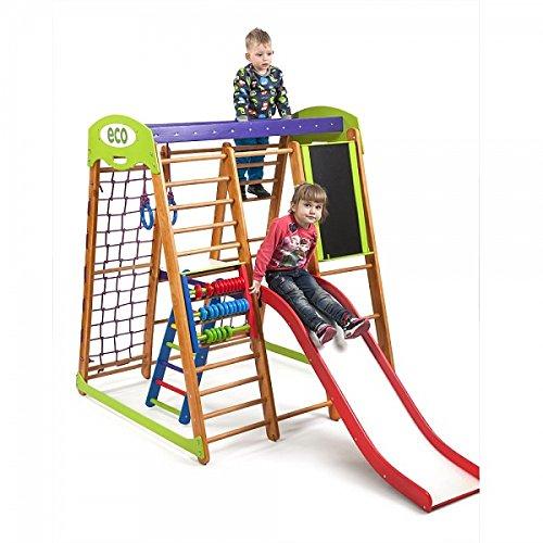Kinder zu Hause aus Holz Spielplatz mit Rutschbahn ˝Karapuz-Plus-3˝ Kletternetz Ringe Kletterwand