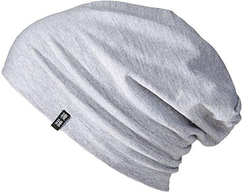 Enter the Complex® Leichte Jersey Mütze, Damen und Herren, Slouch Beanie aus Baumwolle, Elastisch, L/XL, Hell Grau Meliert