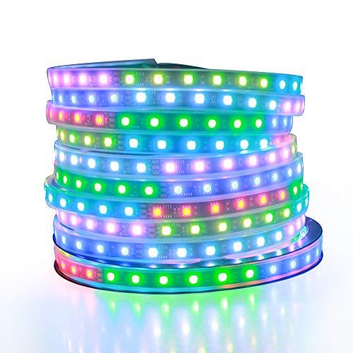 ALITOVE Tira de luz LED RGB direccionable WS2811 Dream Color Digital Programable Flexible LED Pixel Tape Light 24V 10m 600 LEDs 5050 SMD Impermeable IP67 Negro PCB para Arduino Raspberry Pi