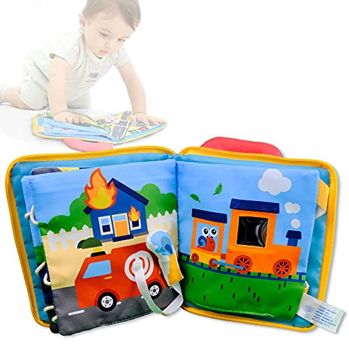 Richgv Infantil Cuna Juguete Libros Bebé Libro Texturas Bebé con Diferentes Vehículos Libro Sensorial,Peluches para Bebés Niños Juguetes para Recién Nacidos 0+ Meses (Mundo del Coche)