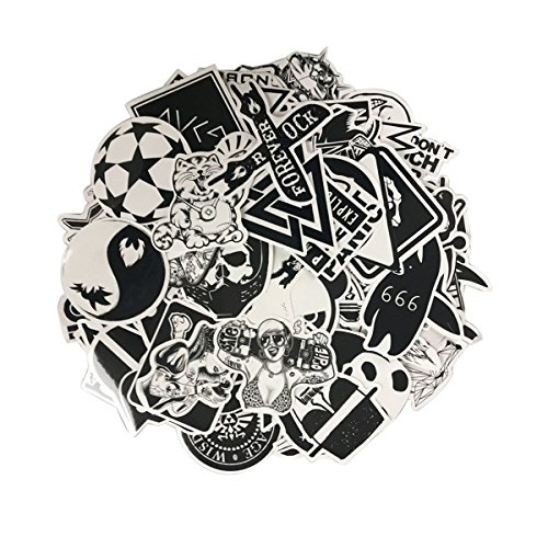 Sticker Pack [100-Pcs] Black White Vinyl Sticker Graffiti Decal Perfect to Laptops,Kids,Cars,Motorcycle,Bicycle,Skateboard Luggage, Cellphone,Bumper Stickers Hippie Decals Bomb Waterproof