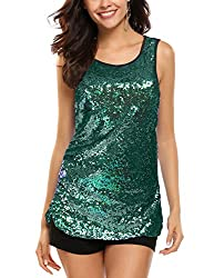 Green #2 Sleeveless Shimmer Camisole Vest Sequin Tank Top