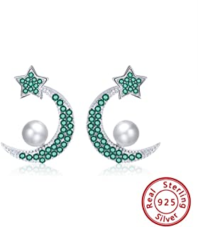 JJGL Simulated Pearl Moon Star Earring 925 Silver Aaaa Zircon Earrings Jewelry Party Gift