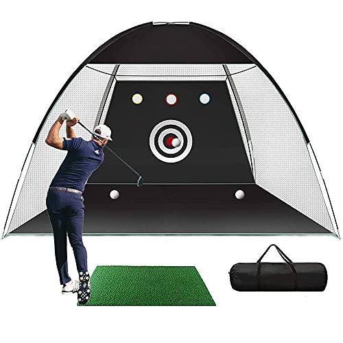 Red de golf para golpear, 4.6x6.6 pies, juego de red de práctica de ayudas para entrenamiento de golf con bolsillos para objetivos red de práctica de golf alfombra de golf plegable exteriores
