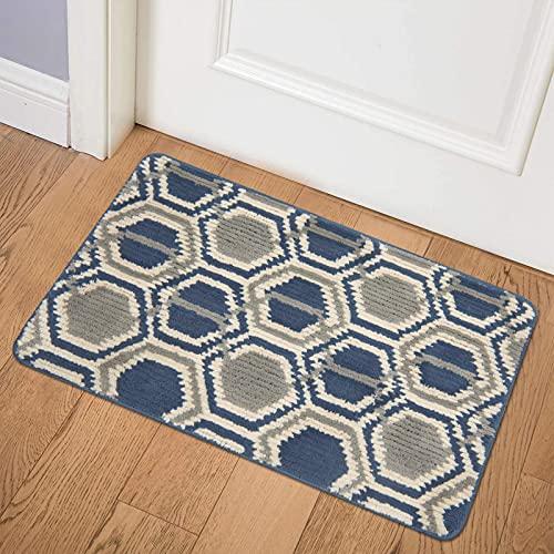 AbovHom Indoor Doormat, Absorbent Front Door Rug Non Slip Entrance Rug Resist Dirt Floor Mat Low-Profile Inside Doormat Machine Washable Front Door Rug Carpet(20''x32'', Blue)